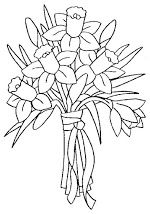 daffodil bouquet Floral Embroidery Patterns, Flower Patterns, Embroidery Stitches, Hand Embroidery, Flower Embroidery, Flower Coloring Pages, Colouring Pages, Bouquet Noir, Daffodil Bouquet