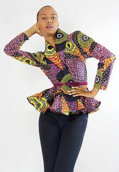 Hawt!!!!    The Patricia- African Print 100% Holland Wax Cotton/Metallic Fabric Wrap Cardigan Jacket. $110.00, via Etsy.