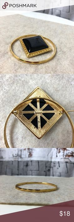 """Vintage Singed Monet Brooch & Bangle Set Beautiful Signed Monet Brooch & Bangle set.  Both have beautiful detailing.  Take note to the  setting design around the square resin on the brooch.  Bangle is 3"""" in diameter. Excellent Vintage Condition. Authentic Original Vintage Style Jewelry"""