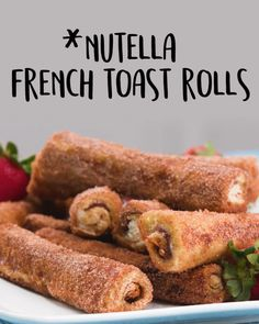 These indulgent breakfast pastries create the perfect union between cinnamon rolls to French toast. Nutella adds a delicious element that you'll love! and Drink deserts dessert recipes Nutella French Toast Rolls French Toast Rolls, Nutella French Toast, Baked French Toast, Stuffed French Toast, Healthy French Toast, French Toast Sticks, Breakfast Pastries, Breakfast Toast, Breakfast Crowd