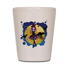Witch with Broom Shot Glass