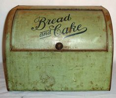 Antique Vintage and Very Rare Primitive Tin Green Storage Bread and Cake box or bin.  Large slide open lid.  1910-1920s.. $125.00, via Etsy.