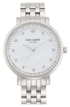 Free shipping and returns on kate spade new york 'monterey' crystal dial bracelet watch, 38mm at Nordstrom.com. Radiant crystals sparkle at the indexes and outer track of a glamorous watch secured with a classic five-link bracelet.