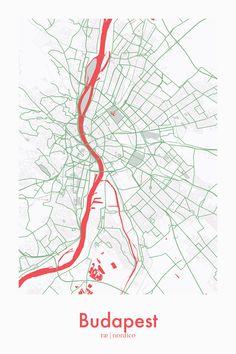 Budapest, Hungary Map Print