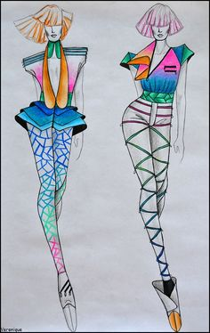 Collection for spring/summer by Verenique on DeviantArt Fashion Design Drawings, Fashion Sketches, Fashion Poses, Fashion Art, Fashion Show Themes, Fashion Illustration Dresses, Geometric Fashion, Illustration Mode, Fashion Figures