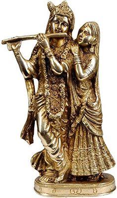 "Sculpture: 8"""" Beautiful Brass Sculpture Wedding Gift - Radha Krishna Statue - Symbol Of Love Hindu Pair God & Goddess - Anniversary Housewarming Lucky Gift"