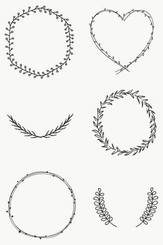 Black Wreath, Green Wreath, Circle Borders, Borders And Frames, Flower Frame Png, Wreath Drawing, Free Hand Drawing, Free Frames, Doodle