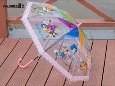 Children Umbrella Parasol Transparent Umbrella Full-automatic Long-handle Umbrella #Affiliate