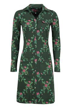 Dress Snappie Flower Branch Green