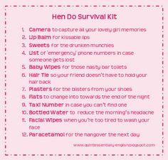 The Hen Do Survival Kit #HenNight #HenDo #HenWeekend