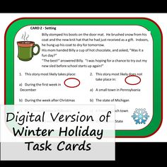 Reading task cards for middle grades about the winter holiday season. Close Reading Activities, Reading Task Cards, Teaching Reading, Learning, Christmas Language Arts, Context Clues, Reading Skills, Winter Holidays, Middle