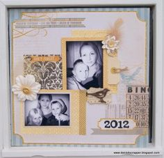 """2012"" scrapbook page by Iben Hojholdt for Scrapbook Adhesives by 3L Crafty Power Blog. She used E-Z Runner, 3D Foam Squares, Crafty Power Tape, Dodz, along with #MyMind'sEye papers."