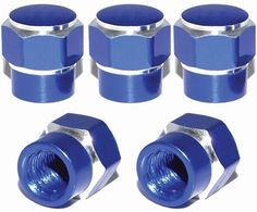 "Amazon.com : (5 Count) Cool and Custom ""Short Two Tone Hexagon with Easy Grip Shape"" Tire Wheel Rim Air Valve Stem Dust Cap Seal Made of Genuine Anodized Aluminum Metal {French Tesla Blue and Silver Colors - Hard Metal Internal Threads for Easy Application - Rust Proof - Fits For Most Cars, Trucks, SUV, RV, ATV, UTV, Motorcycle, Bicycles} : Sports & Outdoors"