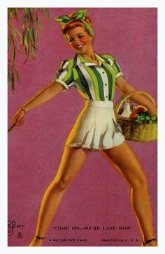 Pin Up Girl Poster 11x17  Mutoscope art Cute Blonde Patriotic American