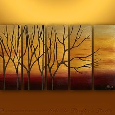 CUSTOM PAINTING Abstract Modern Landscape Tree Textured Art by Gabriela 50x30 Metallic Large