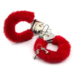 Fluffy Handcuffs with key hand cuffs furry covered metal fancy dress pair of new
