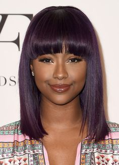 Justine Skye's banged hairstyle at the 2016 DVF Awards