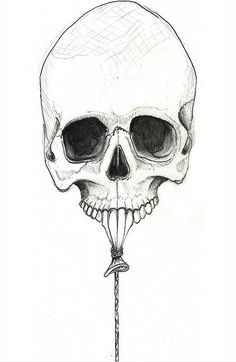 Very creative art - Balloon Skull. Art Pop, Totenkopf Tattoos, Drawn Art, Tattoo Motive, Skull Tattoos, Vanitas, Skull And Bones, Skull Art, Art Drawings