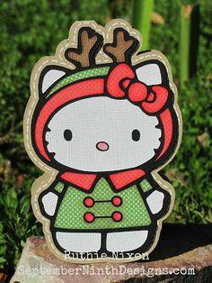 Free freebees gratis download SVG file and or scut file scrapbook paperpierciering Hello Kitty Christmas rendeer Kerstmis rendier
