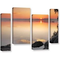 ArtWall Steve Ainsworth Potomac Sunrise 4-Piece Gallery-Wrapped Canvas Staggered Set, Size: 24 x 36, Orange