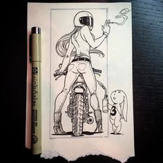 Motorcycle Art by Samuel Lee Turner : Awesome motorcycle illustrations featuring ladies who ride by renowned artist Samuel Lee Turner. Motorcycle Tattoos, Motorcycle Art, Bike Art, Motorcycle Birthday, Art Moto, Drawing Sketches, Art Drawings, Ride Drawing, Mädchen Tattoo