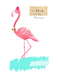Pink Flamingo Card-The Lovely Drawer Character Illustration, Illustration Art, Animal Illustrations, Free Desktop Wallpaper, Wallpapers, Pink Bird, Diy Canvas Art, Sketchbook Inspiration, Cute Characters
