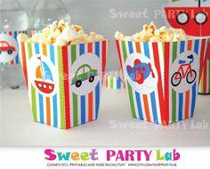 Transportation Party. Transportation Popcorn Box by PartyLab
