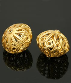 Gold Vermeil Openwork Curly 28x32mm-Stunning focal bead!
