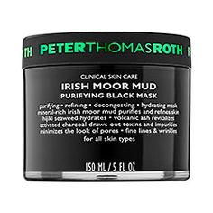 Peter Thomas Roth Irish Moor Mud Purifying Black Mask rids skin of any impurities that are enlarging your pores while infusing your skin with a healthy dose of vitamins and moisture. Best Blackhead Mask, Pore Mask, Skin Mask, Blackhead Remover, Makeup Remover, Peter Thomas Roth, Young Living, Anti Aging, Purifying Mask