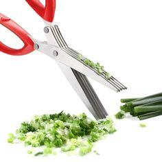 Stainless Steel 5 Blades Herb Kitchen Scissors Nonslip Cleaning Brush (Red) New | Home & Garden, Kitchen, Dining & Bar, Flatware, Knives & Cutlery | eBay!