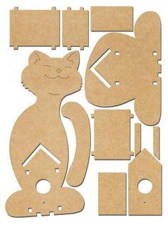 """Deko-Vogelhaus """"Katze"""", MDF-Holz"""