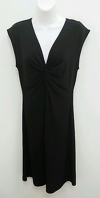 Tiana B Size Medium Black Dress Knotted Front Sleeveless A-Line Below Knee B271