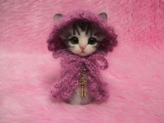 Needle Felted Silver Tabby Cat in Cape with Hood: Japanese Kokeshi Doll Style Miniature Wool Cat. ¥12,500, via Etsy.