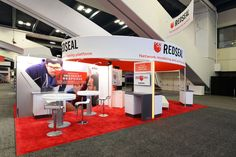 RedSeal measures and manages the digital resilience of your network. This custom exhibit includes tables as well as a media section with seating.
