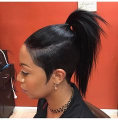 Ponytail Styles For Short Black Hair Ponytail Styles, Curly Hair Styles, Natural Hair Styles, Undercut Ponytail, Short Ponytail, Ponytail Ideas, My Hairstyle, Pretty Hairstyles, Black Hairstyles