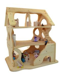 Wooden Dollhouse Toy Dollhouse Play by AToymakersDaughter