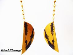 HandCarved Large Half Moon Earrings Gold Tinted by BlackPhancy1
