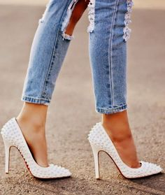 Christian Louboutin in white studded stilettos would be great with white slim pants and a sheer white top! Pointed Toe Heels, Stiletto Heels, Stilettos, Cute Shoes, Me Too Shoes, Crazy Shoes, Dream Shoes, Christian Louboutin Shoes, Beautiful Shoes
