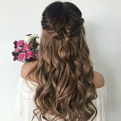 💕💕💕 Hair Romance, Prom Hair, Bridesmaid Hair, Homecoming Hair, Braided Hairstyles, Dinner Hairstyles, Up Hairstyles, Hairdos, Wedding Hairstyles