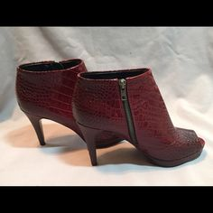 Red shoe boot White House Black Market Gently work red peep toe shoe bootie from WHBM, skuff can be easily fixed. White House Black Market Shoes