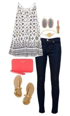 """Polyvore Perfect Tag!"" by worldclasspreppy ❤ liked on Polyvore featuring J Brand, Kendra Scott, Tory Burch, Yves Saint Laurent, Kate Spade, women's clothing, women's fashion, women, female and woman"