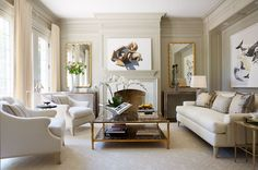 Love the goldtone, brass, mirrors, An elegant neutral living room by Anne Hepfer Formal Living Rooms, Living Room Chairs, Living Room Decor, Dining Room, Classic Interior, Color Interior, Living Room Inspiration, Interiores Design, Home And Living