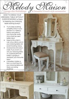 Shabby Chic Wooden Vintage Dressing Table Triple Mirror Upholstered ...