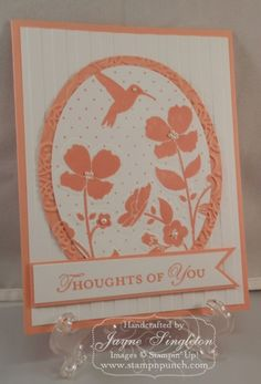 Stampin' Up! ... handmade card ...  Wildflower Meadow ... cantaloupe and cream ... luv the richly embossed mat layer of the oval die cut focal panel ...