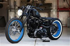 Custom 1973 Ironhead Harley-Davidson Sportster - LOVE THE BLUE WHEELS