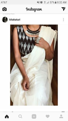 I don't know why I am loving black and white sarees Best Indian Sari Click Visit above for more options White Saree Blouse, Saree Dress, Trendy Sarees, Trendy Dresses, Black And White Saree, Dress Black, Moda Indiana, Set Saree, Indian Fashion Trends