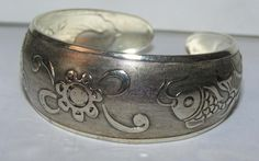 Fish & Flower Tibet Silver Bracelet Free Shipping
