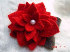 Red CASHMERE FLOWER BLOSSOM Petal Fleur by CustomWarmWoolies, $14.00