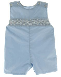Boys Blue Smocked John John with white diamond smocking