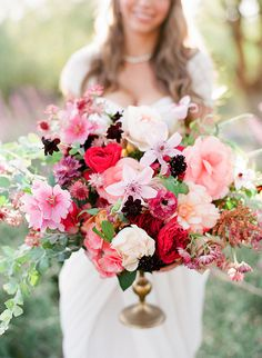 Gorgeous garden-inspired floral arrangement #wedding #centerpiece #vintage
